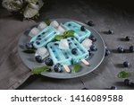 blue popsicles with blueberries ... | Shutterstock . vector #1416089588