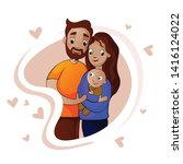 happy parents  family with a... | Shutterstock .eps vector #1416124022