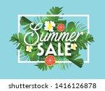 summer sale banner  exotic... | Shutterstock .eps vector #1416126878