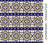 Portuguese tile pattern vector seamless with vintage border ornament. Portugal azulejos, mexican talavera, italian sicily majolica or spanish ceramic. Background for kitchen wall or bathroom floor. - stock vector