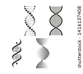 Dna Icon Set. Chromosome Strand ...