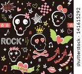 punk girlish doodles with... | Shutterstock .eps vector #141615292