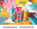 summer cosmetic skincare ads on ... | Shutterstock .eps vector #1416169235