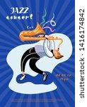 jazz concert leaflet template.... | Shutterstock .eps vector #1416174842
