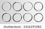 hand drawn circles sketch frame ... | Shutterstock .eps vector #1416191582