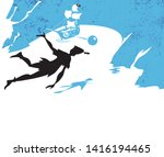 peter pan story  silhouette of... | Shutterstock .eps vector #1416194465