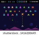 funny ufo invaders  space ships ... | Shutterstock .eps vector #1416200645