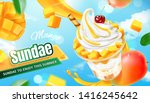 delicious mango sundae ads with ... | Shutterstock .eps vector #1416245642