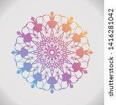 round gradient mandala on white ... | Shutterstock . vector #1416281042