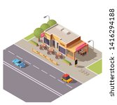isometric 3d cafe building with ... | Shutterstock .eps vector #1416294188