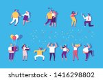 birthday party with cake and... | Shutterstock .eps vector #1416298802