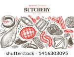 vintage vector meat products... | Shutterstock .eps vector #1416303095