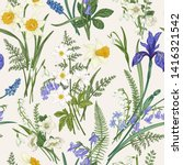 Vector vintage seamless floral pattern. Botanical illustration with meadow and garden spring flowers. Colorful.