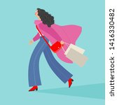 fashionable girl with purchases.... | Shutterstock .eps vector #1416330482