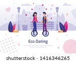 eco dating. man woman ride... | Shutterstock .eps vector #1416346265