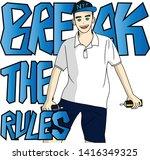 cute boy break the rules slogan ... | Shutterstock .eps vector #1416349325