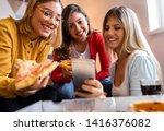 three female friends chatting... | Shutterstock . vector #1416376082