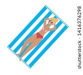 woman with swim wear design   Shutterstock .eps vector #1416376298