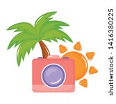 camera photographic with sun...   Shutterstock .eps vector #1416380225