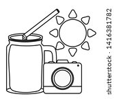 camera photographic with sun...   Shutterstock .eps vector #1416381782