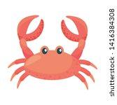 Isolated Crab Cartoon Design...