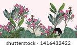 seamless border floral vintage... | Shutterstock .eps vector #1416432422