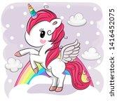 cute cartoon unicorn on clouds... | Shutterstock .eps vector #1416452075