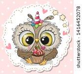 cute cartoon owl with the horn... | Shutterstock .eps vector #1416452078