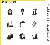 eco icons set with flasks ... | Shutterstock . vector #1416510932