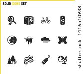 eco icons set with fresh air ...