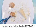 spoon with nuts flavor ice...   Shutterstock . vector #1416517748