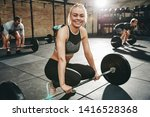fit young woman in sportswear... | Shutterstock . vector #1416528368