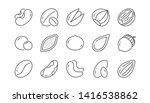 nuts and seeds line icons.... | Shutterstock .eps vector #1416538862