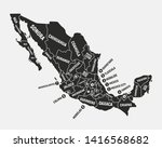 mexico map. poster map of... | Shutterstock .eps vector #1416568682