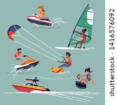 set of water extreme sports... | Shutterstock .eps vector #1416576092