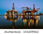repair of the oil rig in the... | Shutterstock . vector #141659062