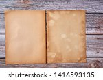 top view of old open book with...   Shutterstock . vector #1416593135
