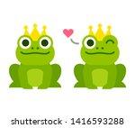 cute cartoon frog prince with...