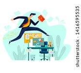 business   running overcoming... | Shutterstock .eps vector #1416595535