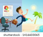 businessman running out from... | Shutterstock .eps vector #1416603065