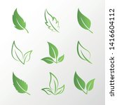 set of isolated green leaves of ...   Shutterstock .eps vector #1416604112