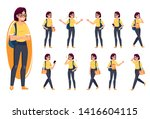 set of woman in different poses.... | Shutterstock .eps vector #1416604115