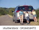 happy brother and his two... | Shutterstock . vector #1416616472