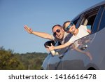 happy father and son sitting in ... | Shutterstock . vector #1416616478