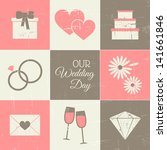 a set of vintage style wedding... | Shutterstock .eps vector #141661846