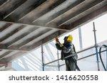 sand blasting process ... | Shutterstock . vector #1416620558