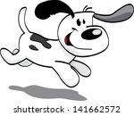 happy dog running | Shutterstock .eps vector #141662572