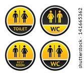 signs for restroom men women.... | Shutterstock . vector #141665362