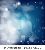 blue realistic vector snowfall. ... | Shutterstock .eps vector #1416673172