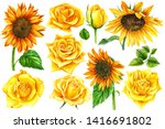 yellow roses and sunflowers...   Shutterstock . vector #1416691802